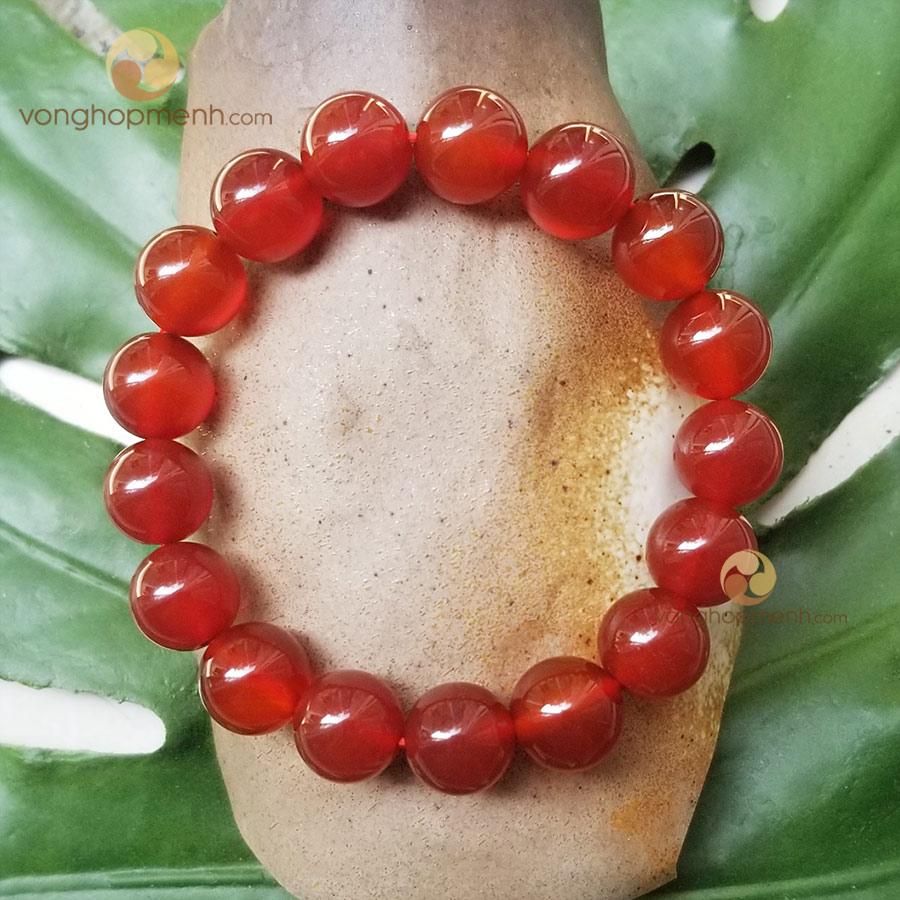 Vòng Tay Đá Mã Não (Agate) Đỏ 12 ly