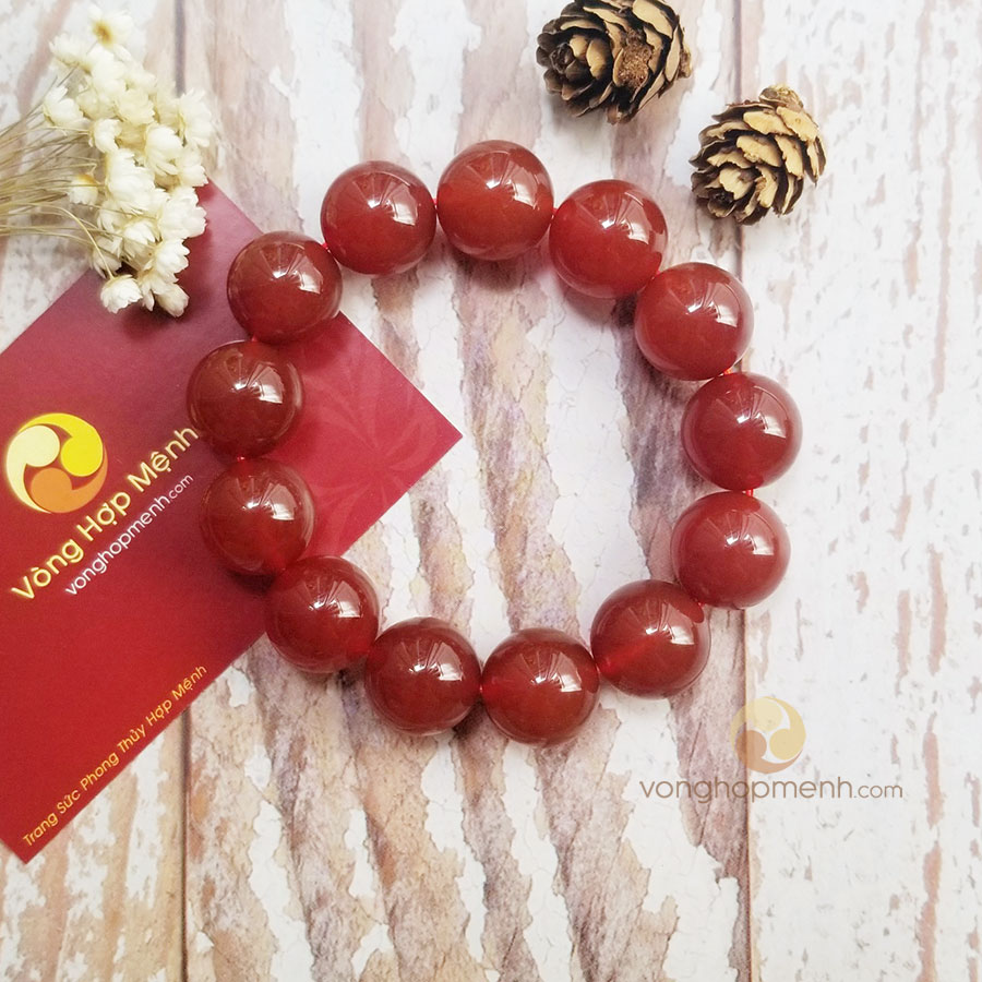 Vòng Tay đá Mã Não (Agate) Đỏ 16 ly
