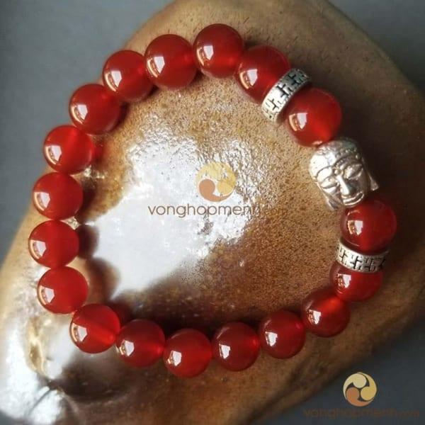 Vòng tay MNB2441 (Đá mã não đỏ 8 ly mix charm Đầu Phật bạc 925)
