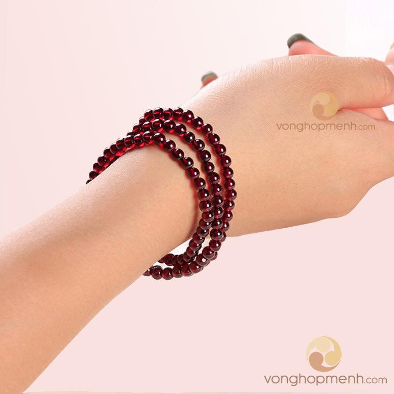 Chuỗi hạt đeo tay đá ngọc hồng lựu Garnet 6 ly