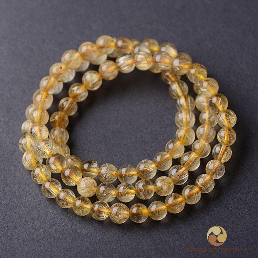 Chuỗi hạt đá thạch anh tóc vàng 8 ly, chuẩn 5A - Chuỗi vòng tay phong thủy
