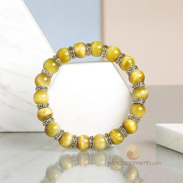Vòng tay Đá mắt hổ vàng mix charm CC121 Bạc thái