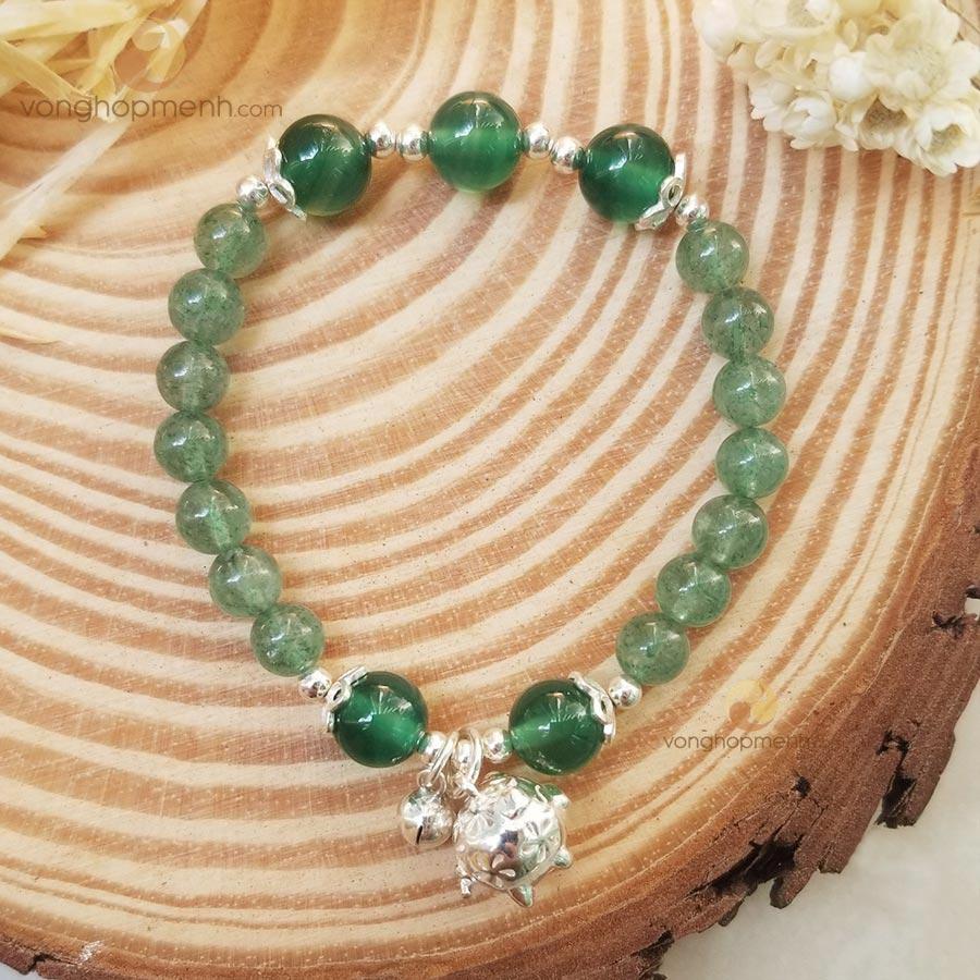 Vòng Tay TDX4683 (Thạch anh dâu tây xanh mix charm heo may mắn, lục lạc Bạc 925)