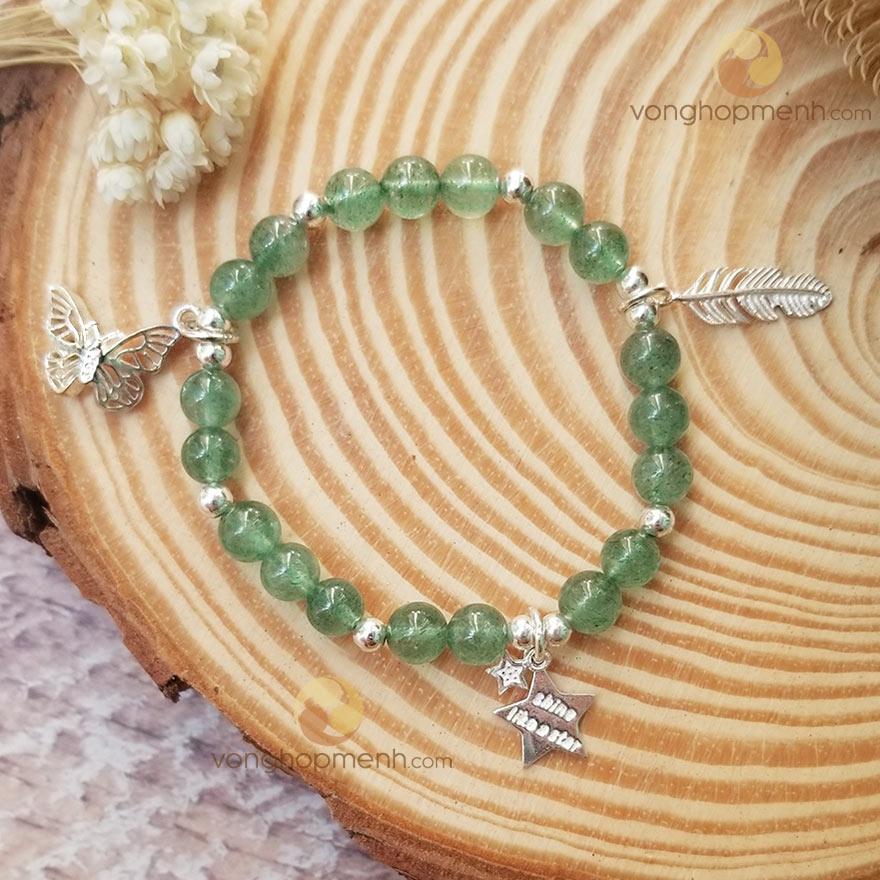Vòng Tay TDX4721 (Thạch anh dâu tây xanh mix Charm bướm, lông vũ, ngôi sao Bạc 925)