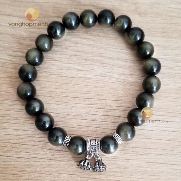 Vòng tay NLN5613 (Đá Obsidian ánh nâu 8 ly mix charm chữ Vạn, Đài Sen bạc S925)