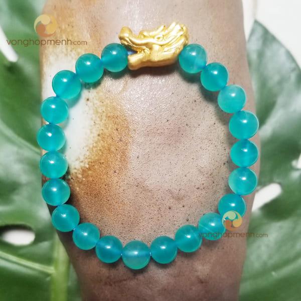 Vòng tay TH5903 (Đá Thiên Hà Amazonite 8 ly mix charm đầu Rồng bạc mạ vàng)