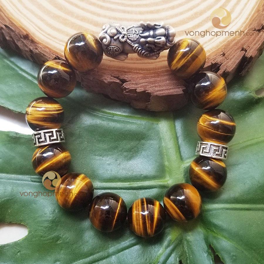 Vòng tay MHN6028 (Đá mắt hổ nâu vàng 14 ly mix charm chữ Vạn, Tỳ Hưu bạc thái S925)