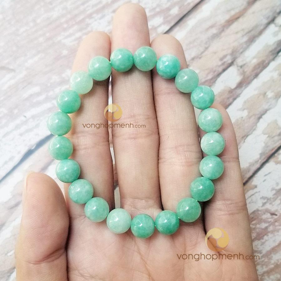 Vòng tay đá cẩm thạch xanh lơ 8 ly - vòng tay phong thủy