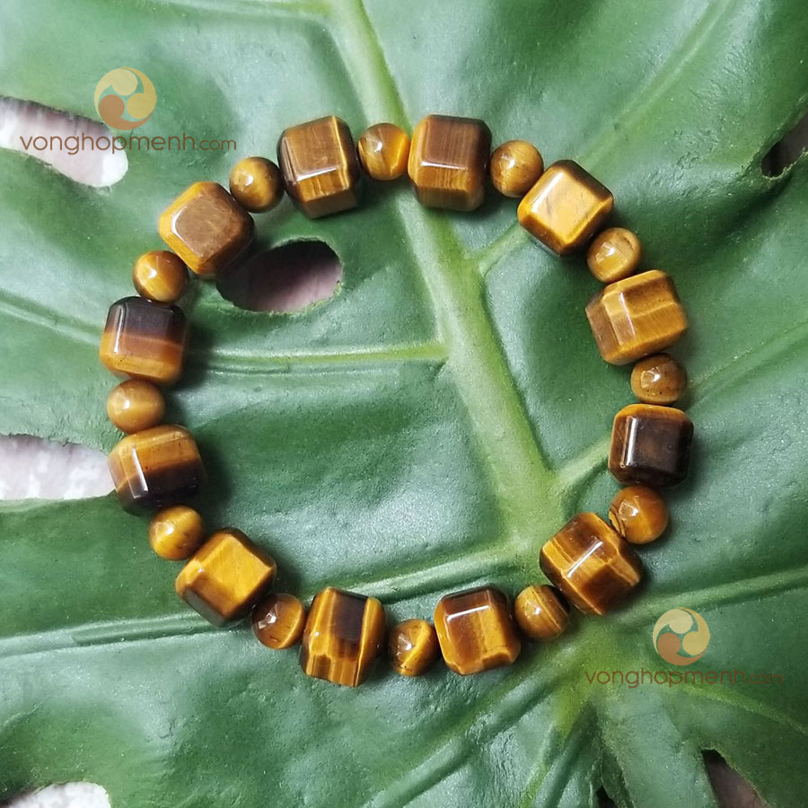Vòng tay MHN6433 (Đá mắt hổ nâu vàng hạt vuông hạt tròn) - Vòng tay phong thủy