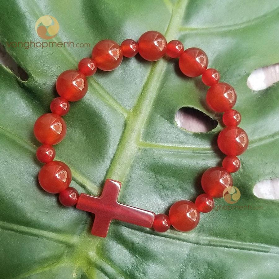 Vòng tay MND6451 Mân Côi (Đá mã não đỏ mix Thánh Giá) - vòng tay phong thủy