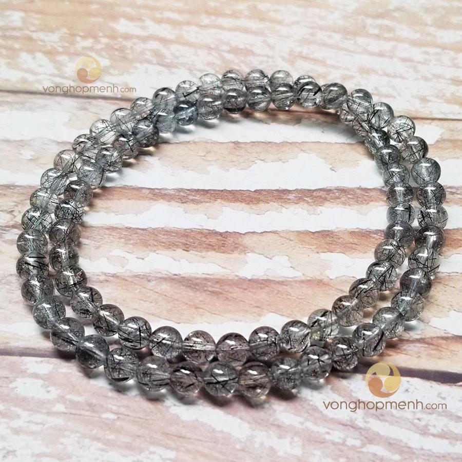 Chuỗi hạt đá thạch anh tóc đen 6 ly, 5A - vòng tay phong thủy
