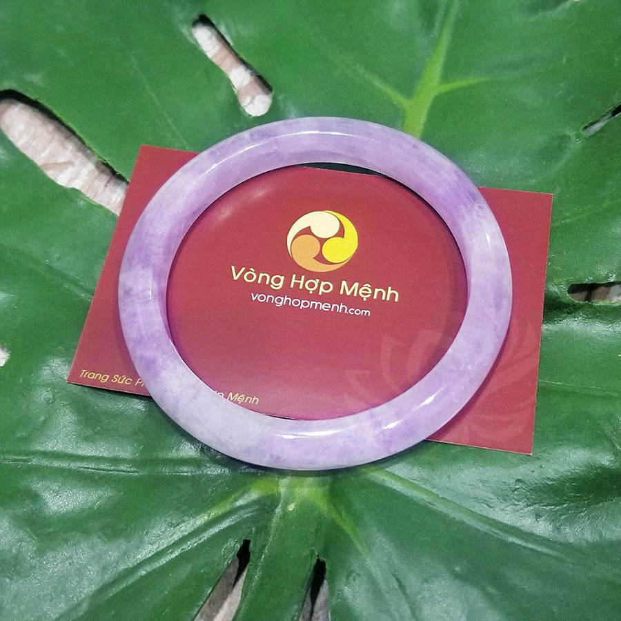 kiềng tay đá Thạch Anh Tím Lavender Bản nhỏ - vong tay phong thuy