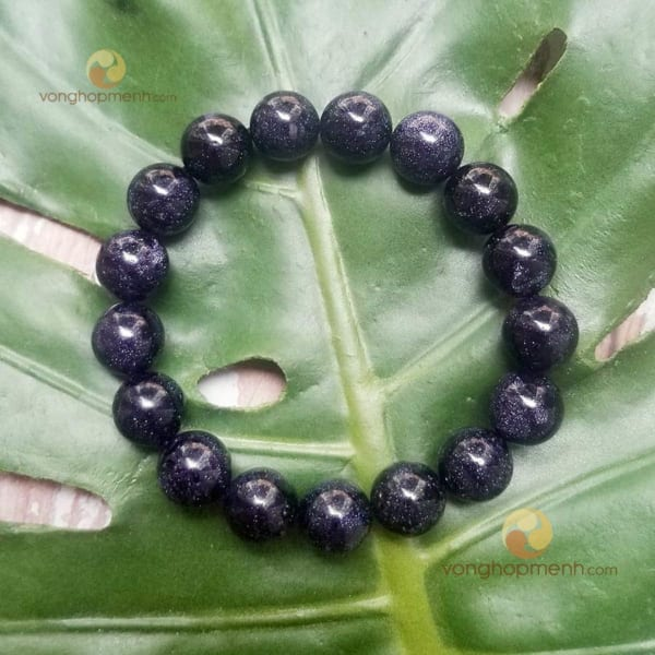 Vòng Tay Đá Kim Sa Đen 12 ly ánh xanh tím - vòng tay phong thủy