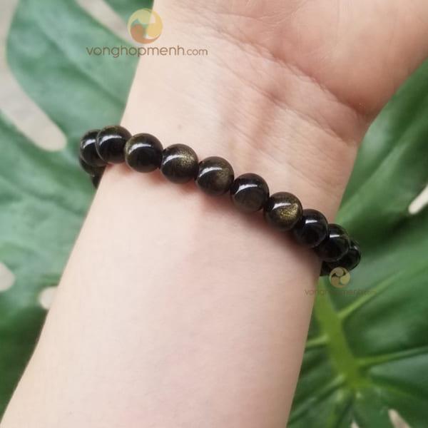 Vòng Tay Đá Obsidian Ánh Nâu 8 ly - Vòng đá phong thủy