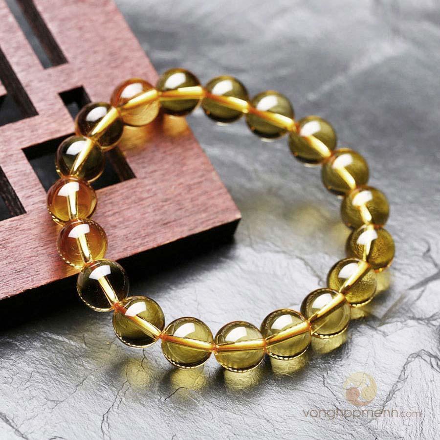 Vòng Tay Đá Thạch Anh Vàng 10 ly - Vòng tay phong thủy