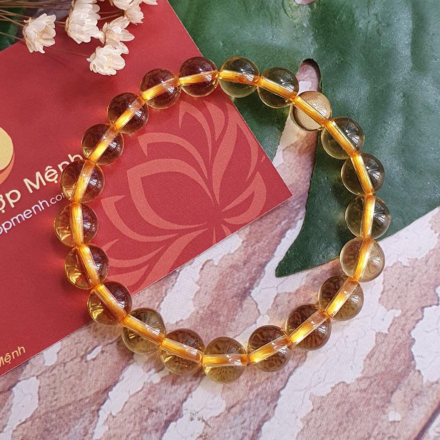 Vòng Tay Đá Thạch Anh Vàng 8 ly - Vòng tay phong thủy