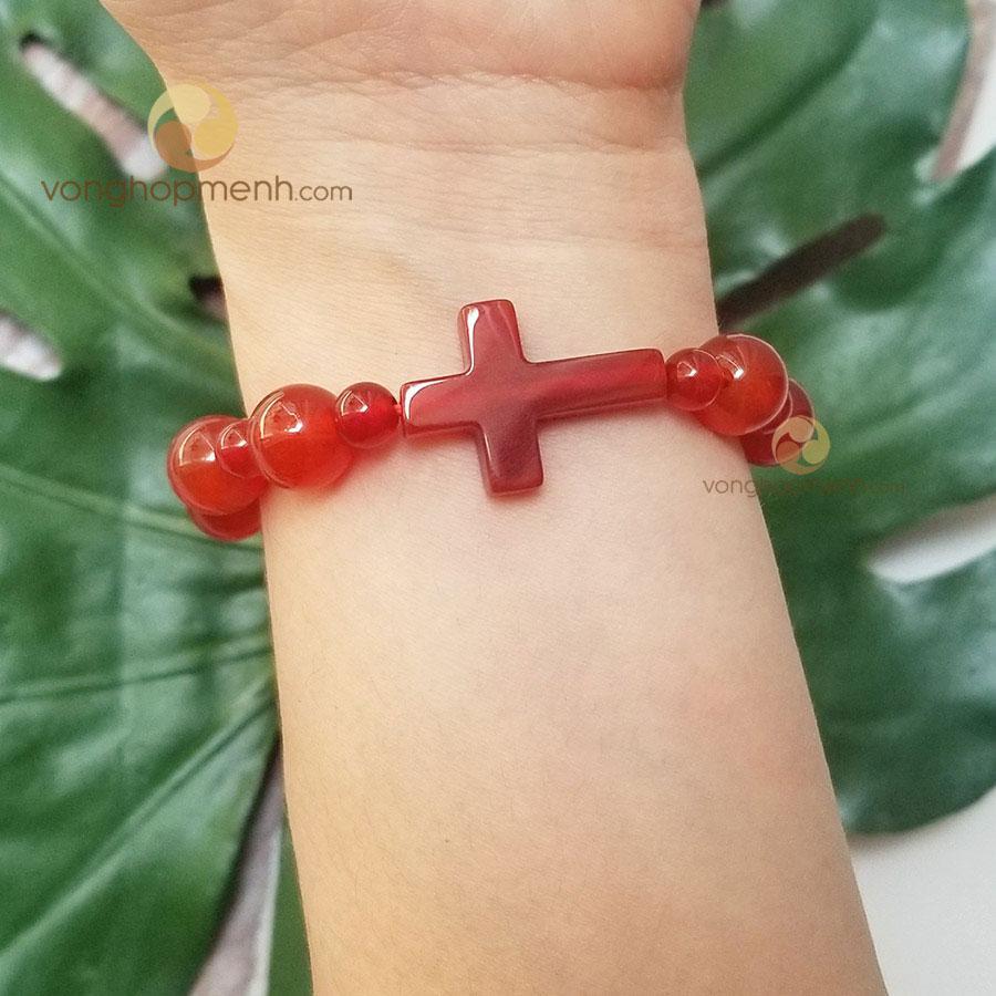 Vòng tay Mân Côi (Đá mã não đỏ mix Thánh Giá) - vòng phong thủy