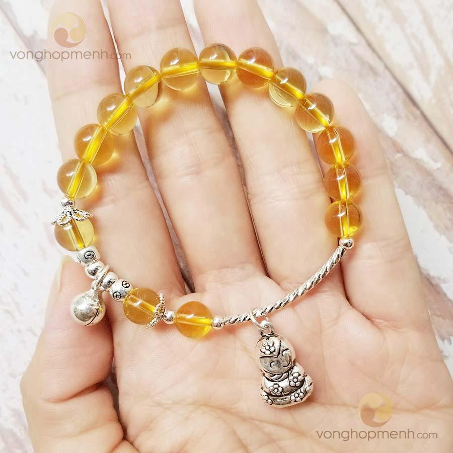 Vòng Thạch anh vàng mix charm TUỔI TỴ, lục lạc bạc thái S925) - vòng phong thủy