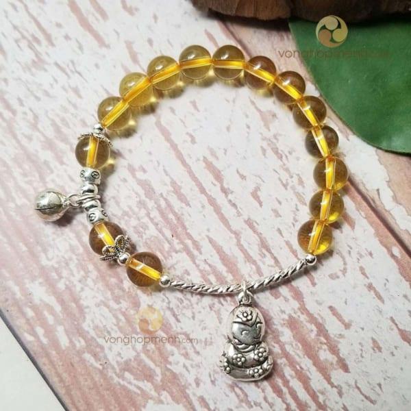 Vòng tay đá Thạch anh vàng mix charm TUỔI TỴ, lục lạc bạc thái S925) - vòng tay phong thủy