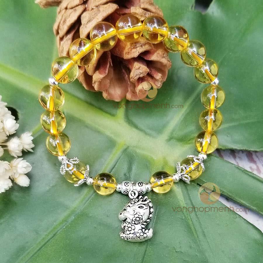 Vòng tay đá Thạch anh vàng mix charm TUỔI THÌN bạc thái S925 - Vòng tay phong thủy