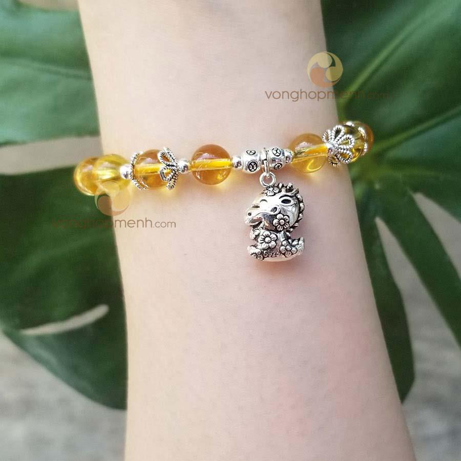 Vòng Thạch anh vàng mix charm TUỔI THÌN bạc thái S925 - Vòng phong thủy